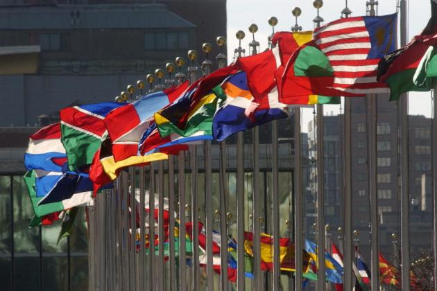 World flags in front of UN headquarters
