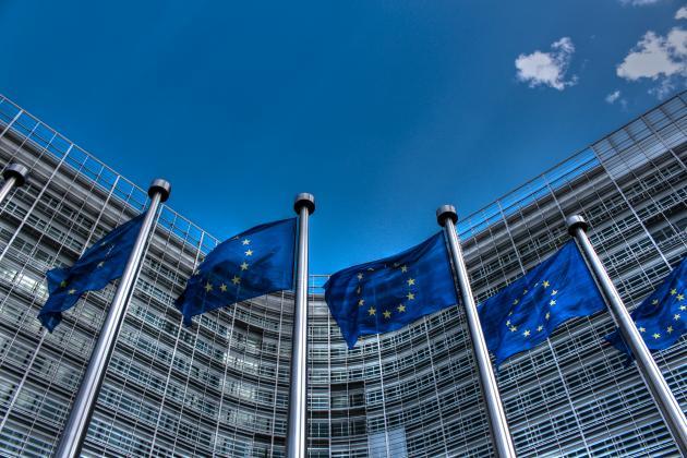 European Union Flags in a row
