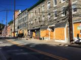 Boarded up windows in Ellicott City